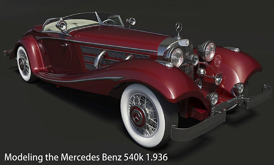 【3DCG】 3dsMAXで作るクラシックカー 『Modeling the Mercedes Benz 540k 1.936 』