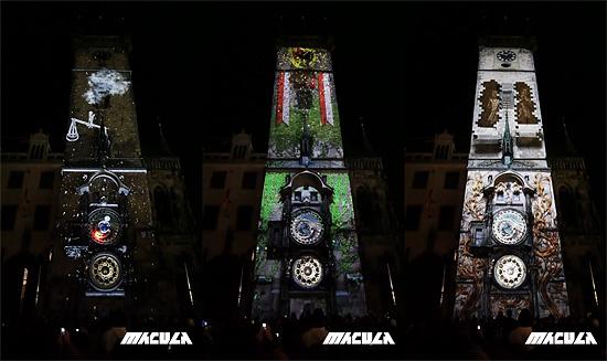 実物の塔にCGの画像を投影した『Macula』の作品