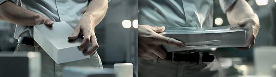 アルミニウムのインゴットを手にして作られた物は。『Audi A6』のCM