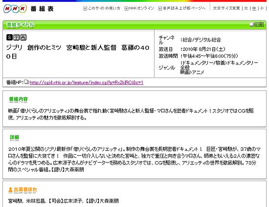 再放送!NHKで『借りぐらしのアリエッティ』メイキング 8月21日放映