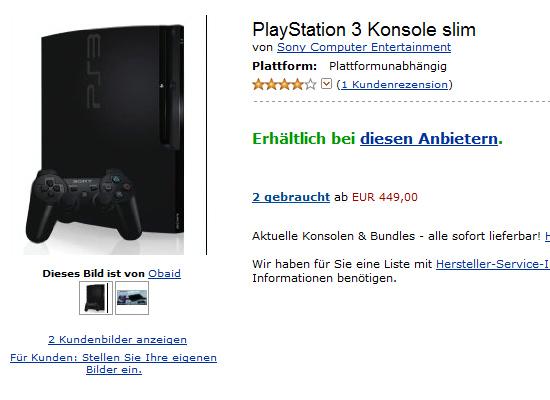 【その他】新型『PlayStation 3』が Amazon.deにて『PlayStation 3 Konsole slim』という名前で掲載