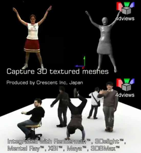 【3DCG】 動いてる人物をそのまんまキャプチャーするシステム『4D Views Compilation』