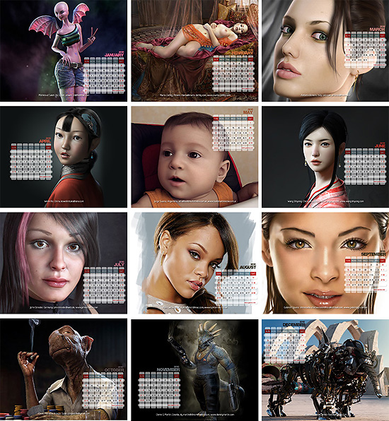【3DCG】 CGArena CGの2010年壁紙カレンダー無料ダウンロード中