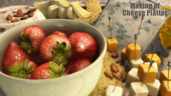 【3DCG】 チーズとイチゴのCGのメイキング