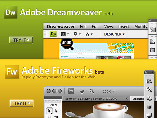 Adobe 『Dreamweaver CS4』と『Fireworks CS4』Beta版のダウンロード開始