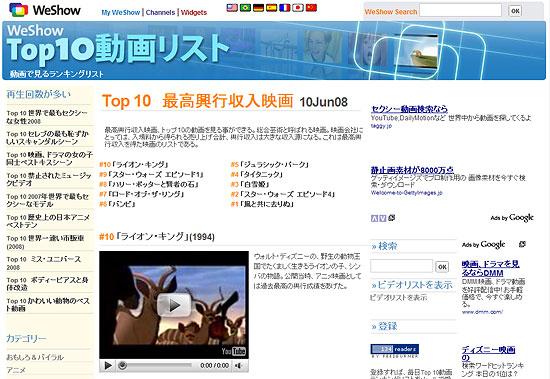 【タレコミ】 映画の最高興行収入 Top 10の動画