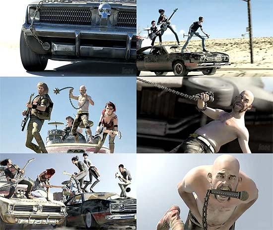 車の上で激しく歌う!Xbox360『RockBand2』 第2段のCGムービー