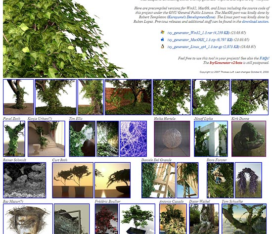 【3DCG】 ツタのような植物を生成するフリーの3DCGソフト『Ivy Generator』