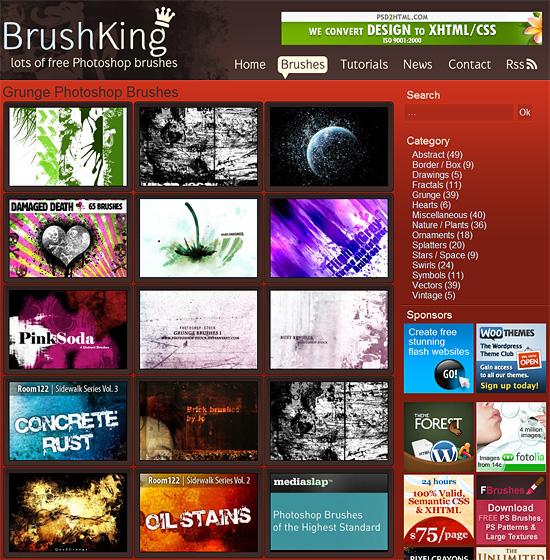【その他】 321種類のPhotoshopのブラシをダウンロード出来るサイト『BrushKing』