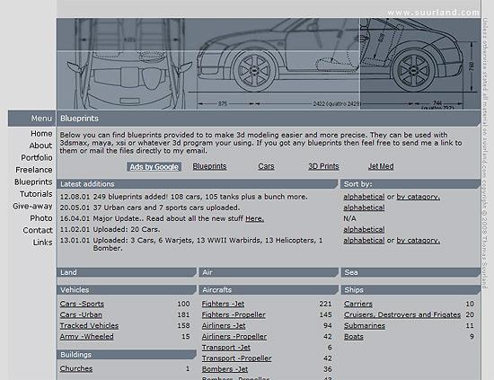 【3DCG】 あらゆる乗り物の三面図が展示されているサイト『suurland.com』