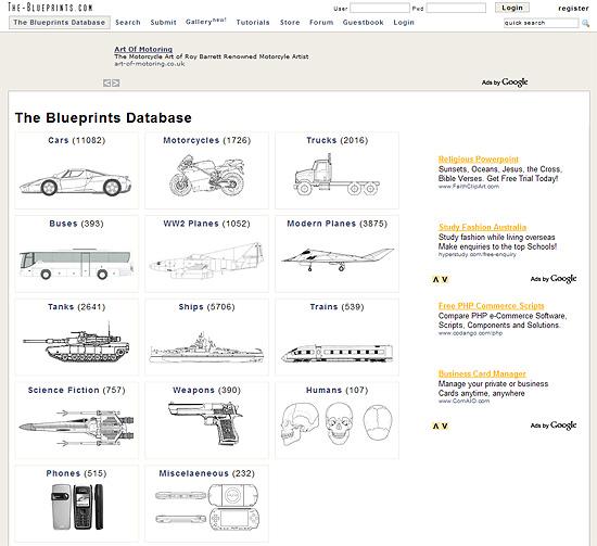 【その他】  あらゆる乗り物の三面図が展示されているサイト2『The-Blueprints』