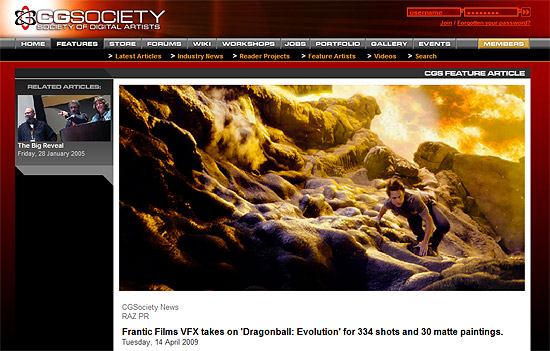 【その他】 cgsocietyにて『Dragonball: Evolution』を手がけたプロダクションの記事