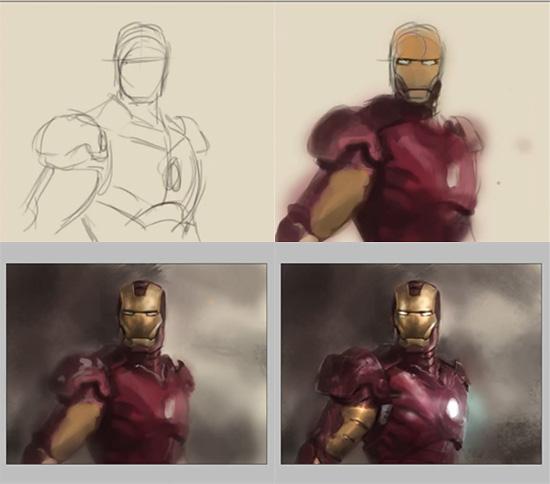 【2DCG】 『アイアンマン』のスピード ペインティング