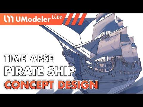 UModeler Lite : Timelapse Video of Pirate Ship Concept Design in Unity
