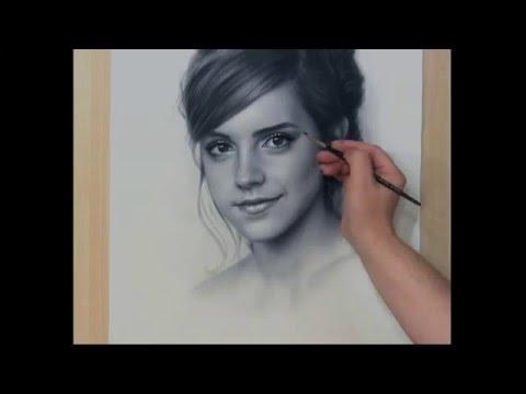 Speed Drawing Portrait Emma Watson. Рисование портрета Сухая кисть