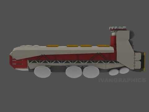 Space cargo ship design concept 3D Model W.I.P