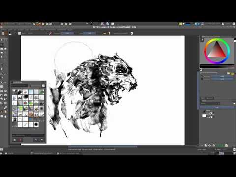 "Sketch Brush Engine in Krita 2.4 Beta 4 ""Wild Animal"" Video for Slun11"