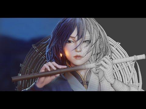 Flute 3D timelapse - Blender