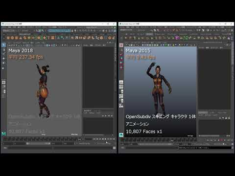 OpenSubdiv スキニング キャラクタ 1体 アニメーション