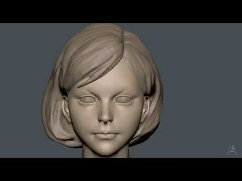 Zbrush Sculpting - Girl with Short cut Hair - WIP01