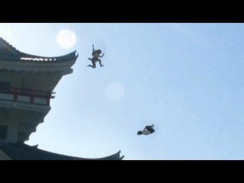 忍者女子高生 | 制服で大回転 | japanese school girl chase #ninja