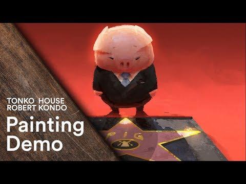 Photoshop: Robert Kondo's Painting Demo - Tonko School (#001)