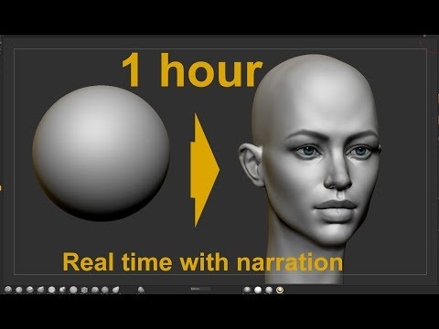 Female head from sphere in Zbrush How to model and draw a female head with live narration