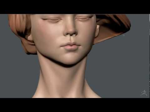 Zbrush Polypaint - Girl with eyes closed 02