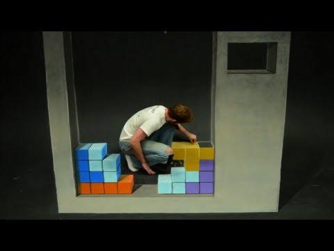 Tetris Stop Motion 3D Chalk Art - AWE me Artist Series