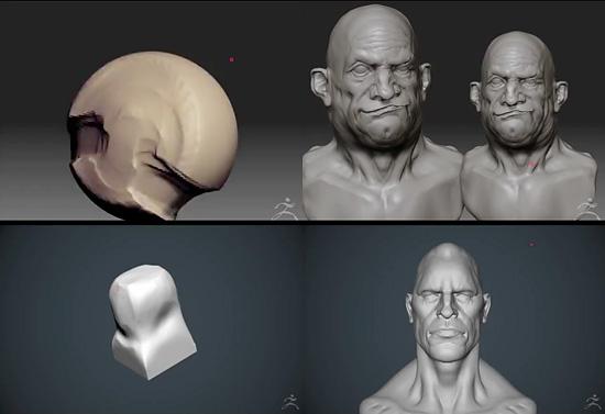 始まりはシンプルな形状から。スフィアやキューブからスカルプトされた頭部。