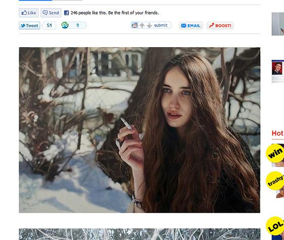 雪景色をバックに、たばこを持つ女性をモデルにした油絵。うぇ!?油絵!!??