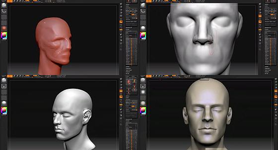 チュートリアル動画。Zbrushで男性の頭部をスカルプト。