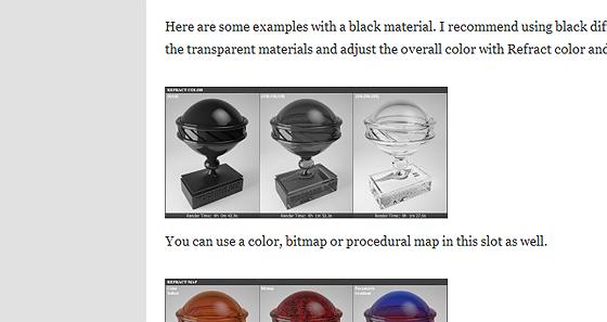 V-rayのマテリアルのパラメーター違いをザッと見出来るサイト
