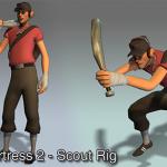 ゲーム『Team Fortress 2』スカウトをモデルとしたリグ付きデータ
