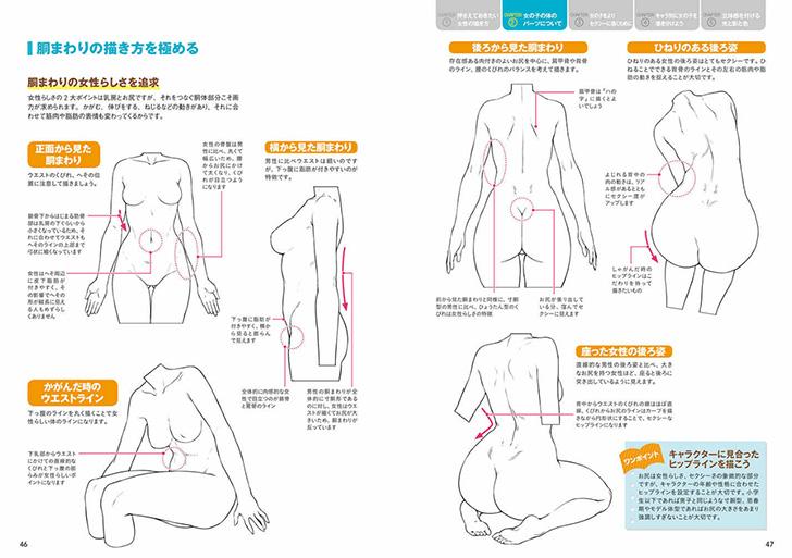 様々なアングルからの女性の腰回りの描き分け方