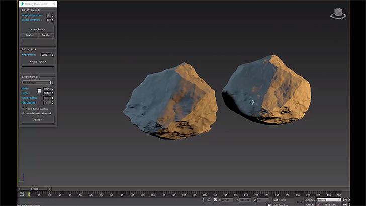 左がハイポリの岩。右がローポリにした岩。