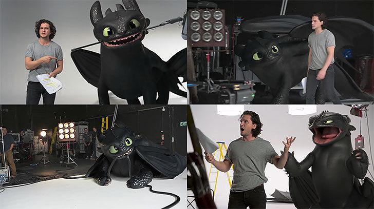 『ヒックとドラゴン3』。役者のオーディションにドラゴンのトゥースが乱入する映像