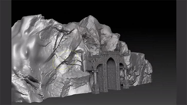 こういった崖がサクッと作れてしまう、ZBrushファイルのセット