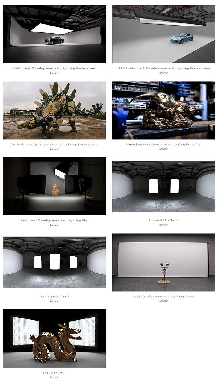 ダウンロード出来るCGライトスタジオのデータの一覧